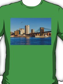 Sailing Under the Brooklyn Bridge - Impressions Of Manhattan T-Shirt