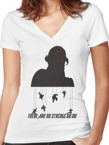 No Strings On Me Women's Fitted V-Neck T-Shirt