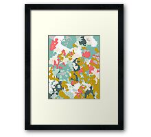 Rumor - Abstract painting, design pink mustard blue painterly design Framed Print