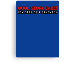 Cool story babe! now make me a sandwich Canvas Print