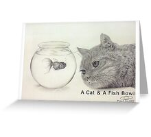 A Cat and a Fish Bowl Greeting Card