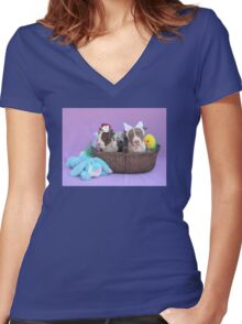 Easter Puppies Women's Fitted V-Neck T-Shirt