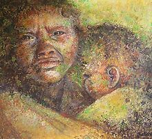 Tribal woman and baby from South India by Katishe