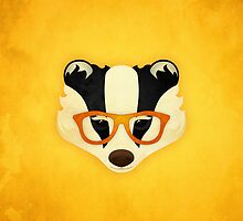 Hipster Badger: Gold by Jenny Lloyd