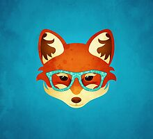 Hipster Fox: Azure by Jenny Lloyd