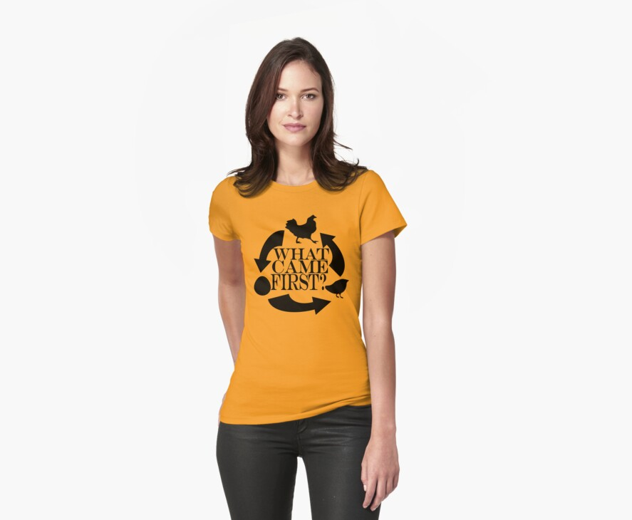 Chicken Or The Egg (black) Tee by BluAlien