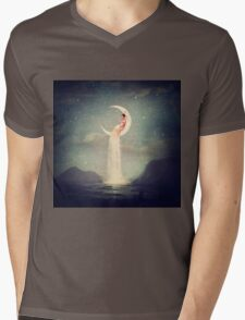 Moon River Lady Mens V-Neck T-Shirt