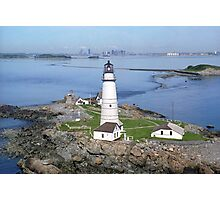 Aerial view of Boston Light Photographic Print