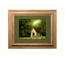 """""""Country Church, version 1"""" ... with a rice paper impression, in a matted and framed presentation, for prints and products Art Print"""