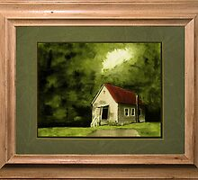 """""""Country Church, version 1"""" ... with a rice paper impression, in a matted and framed presentation for prints and products by © Bob Hall"""