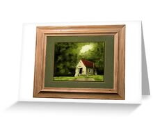 """""""Country Church, version 1"""" ... with a rice paper impression, in a matted and framed presentation, for prints and products Greeting Card"""