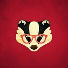 Hipster Badger: Red by Jenny Lloyd