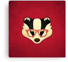 Hipster Badger: Red Canvas Print