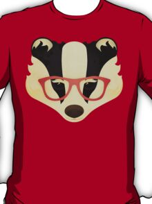 Hipster Badger: Red T-Shirt