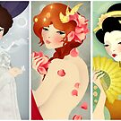 Three Lovely Ladies: Portrait Triptych by Jenny Lloyd