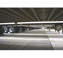 Depth perspective view under semi trailers Photographic Print