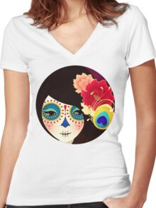 Muertita: Candy Women's Fitted V-Neck T-Shirt