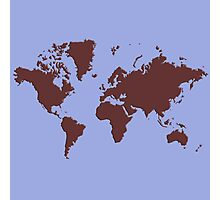 World Splatter Map - periwinkle Photographic Print