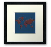 World Splatter Map - royal blue Framed Print