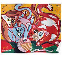 'Kitties at Play' Poster