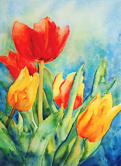 Primary Tulips by Ruth S Harris