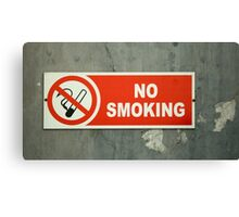 No Smoking sign on an old wall Canvas Print