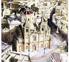 Zurrieq Church and Village, Malta by Joseph Barbara