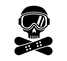 Snowboard skull goggles Photographic Print