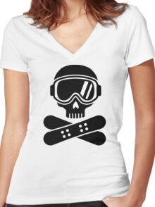 Snowboard skull goggles Women's Fitted V-Neck T-Shirt