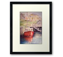 Peggys Cove Red Boat Framed Print