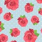 Shabby Chic Polka Dots, Roses - Red Green Blue by sitnica