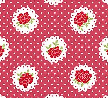Shabby Chic Polka Dots, Roses - Red Green White by sitnica