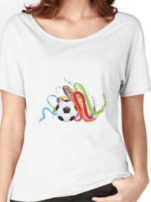 Soccer Ball with Brush Strokes Women's Relaxed Fit T-Shirt
