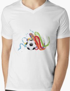 Soccer Ball with Brush Strokes Mens V-Neck T-Shirt