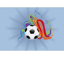Soccer Ball with Brush Strokes Photographic Print