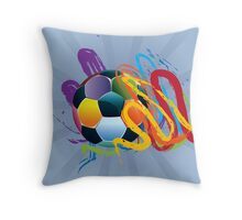 Soccer Ball with Brush Strokes 2 Throw Pillow