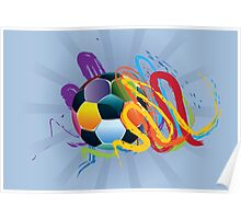 Soccer Ball with Brush Strokes 2 Poster