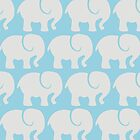 Troop Of Elephants (Elephant Pattern) - Gray Blue by sitnica