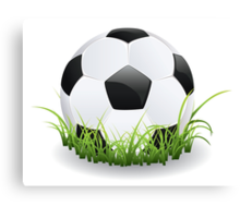 Soccer Ball with Grass Canvas Print