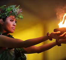 Hawaiian Dancer with Firepots by Nadine Rippelmeyer