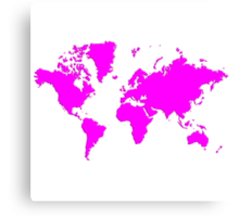 World With No Borders - magenta Canvas Print