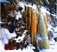Golden Glowing Icefall Smarts Brook  by Wayne King