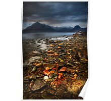 On the shore at Elgol, Loch Scavaig. Isle of Skye, Scotland Poster