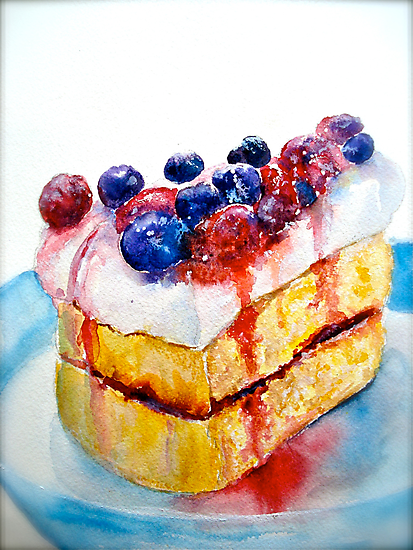 Delicious....Lucious Layer Cake with Berries and Whipped Cream by © Janis Zroback