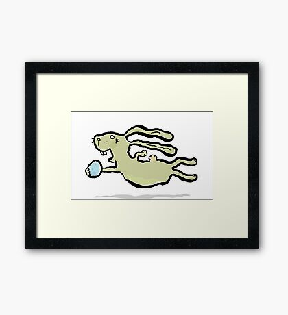 the jumping bunny Framed Print
