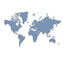 World With No Borders - powder blue Photographic Print