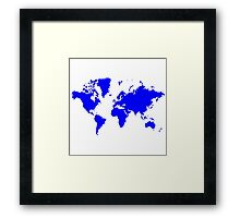 World With No Borders - true blue Framed Print