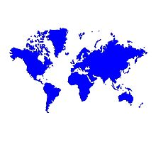 World With No Borders - true blue Photographic Print