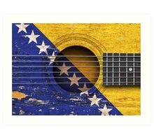 Old Vintage Acoustic Guitar with Bosnian Flag Art Print