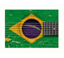 Old Vintage Acoustic Guitar with Brazilian Flag Art Print
